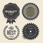Vintage set premium quality and guarantee labels — Stock Vector