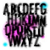 Handwritten blur watercolor alphabet — Stock Vector