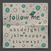 El yazısı alfabesi - beni takip et — Stok Vektör