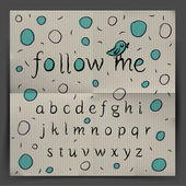 Handwriting Alphabet - Follow me — Vector de stock