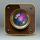 Wooden luxury photo camera icon — Stock Vector