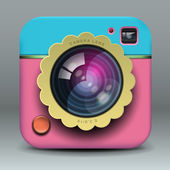 App design pink photo camera icon — Stock Vector