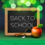 Back to school, written on blackboard with chalk — Stock Vector #24554405