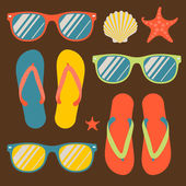Seamless pattern with flip flops and sunglasses — Stock Vector