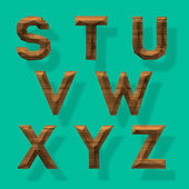 Wooden polygonal alphabet, part 3 — Stock Vector