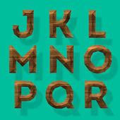 Houten veelhoekige alfabet, deel 2 — Stockvector