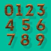 Números poligonales de madera, parte 4 — Vector de stock