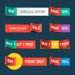 Collection of sale discount website ribbons — Imagens vectoriais em stock