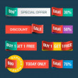 Collection of sale discount website ribbons — Stock Vector