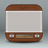 Retro radio app icon — Stock Vector