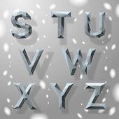 Alfabeto geométrica fractal gris moderno, parte 3. — Vector de stock