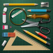 Colorful school supplies — Vettoriali Stock