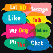 Speech bubbles with most common used acronyms — Stock Vector