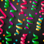 Party design template with streamers and confetti — Stock Vector