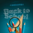 Welcome back to school, — Vector de stock #27399955
