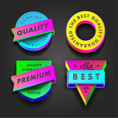 Premium quality and guarantee multicolored labels — Stock Vector