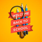 Welcome back to school on yellow background — Stock Vector