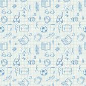 Seamless school pattern doodles on math paper — Stock Vector