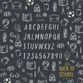 Schools hands draw chalk written font, vector Eps10 image. — Stock Vector