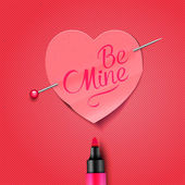 Be Mine - written by marker on red paper heart sticker — Stock Vector