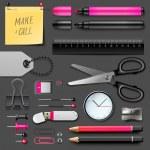Set of office supplies — Stock Vector