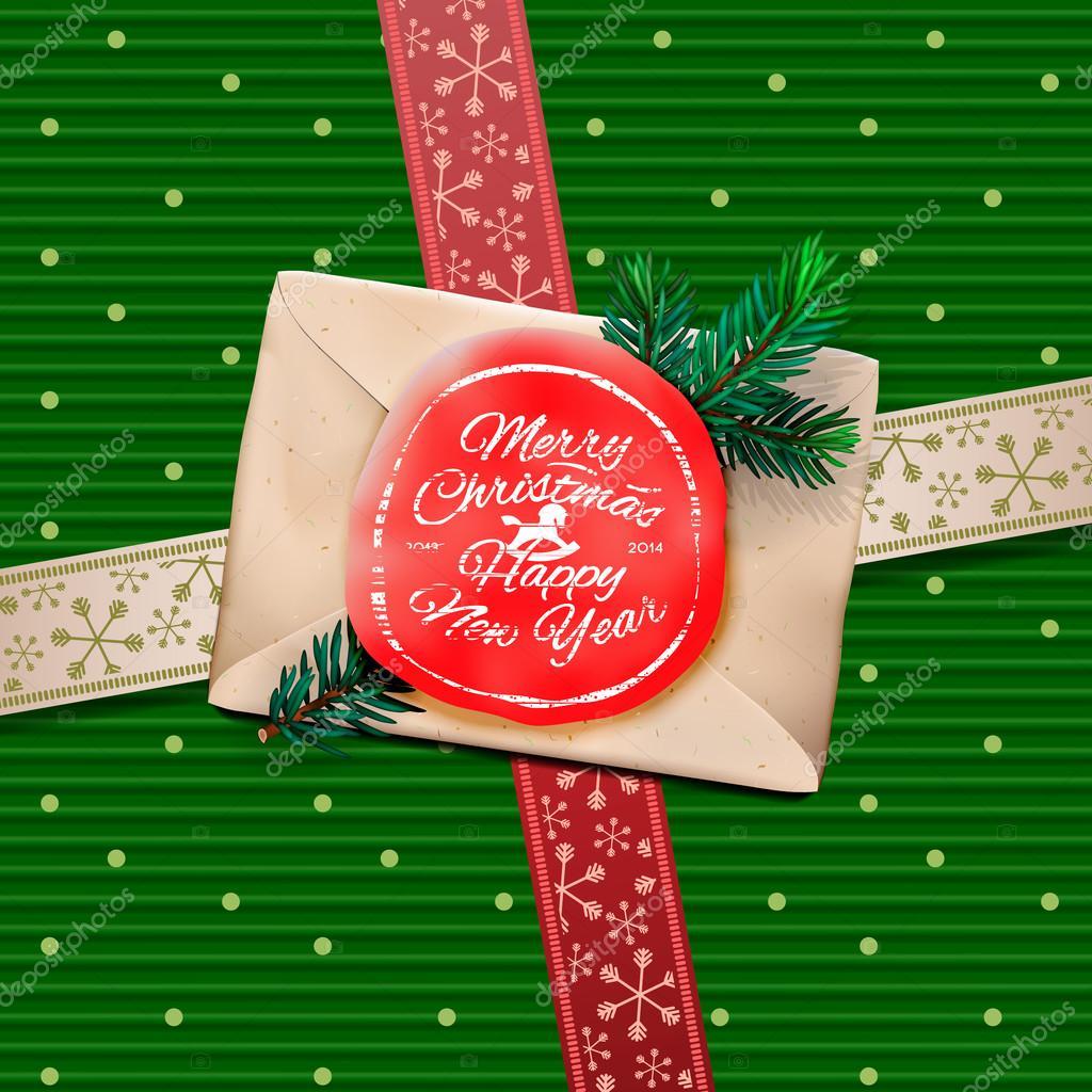 Christmas greeting card merry christmas gift box stock vector