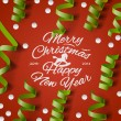 Christmas Party card with streamers and confetti — Stock Vector