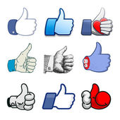 Collection of thumbs Up icons, holidays design — Vector de stock