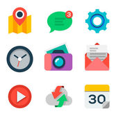 Basic Flat icon set for web and mobile application — Stock Vector