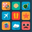 Summer traveling Flat design icons set — Image vectorielle
