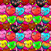 Colorful cute cartoon seamless pattern — Stock Vector