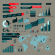 Set of infographic elements with world map — Stock vektor