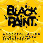 Black oil painted alphabet — Stock Vector