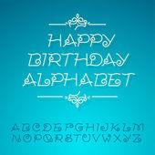 Hand-drawn alphabet letters, happy birthday design card — Stock Vector