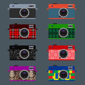 Set of Retro Cameras, hipster style — Stock Vector