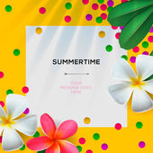 Summertime template with Floral background — Stock Vector