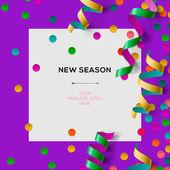 Yeni sezon davetiye şablon taraf konfeti ile — Stok Vektör