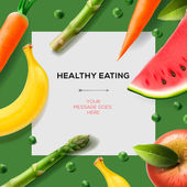 Healthy eating template with fruits and vegetables — Wektor stockowy