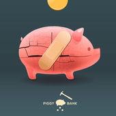 Piggy breken moneybox met vast een pleister — Stockvector
