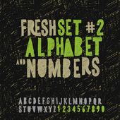 Sada ruční kreslení abeceda a čísla — Stock vektor