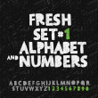 Set of hand drawing alphabet and numbers — Stock vektor #44363823