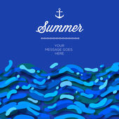 Abstract summer time background with blue wave — ストックベクタ