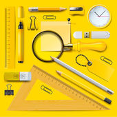 Yellow school supplies — Stock Vector