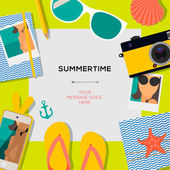Summertime travel template with traveling accessories — Stock Vector