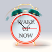 Retro alarm clock, with inscription Wake up now — Stock Vector