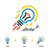Start up business concept network, bulb-rocket — Stock Vector