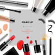 Makeup template with collection of make up cosmetics — Stock Vector #46519747