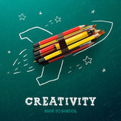 Creativity learning. Rocket with pencils — Stock Vector