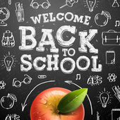 Welcome back to school background with red apple — Stock Vector