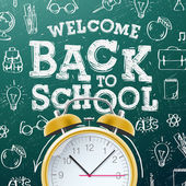Welcome back to school sale background  with alarm clock — Stock Vector